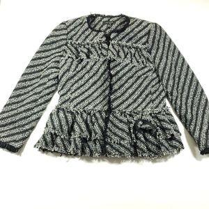 Ann Taylor Womens ruffled gray black blazer size 2